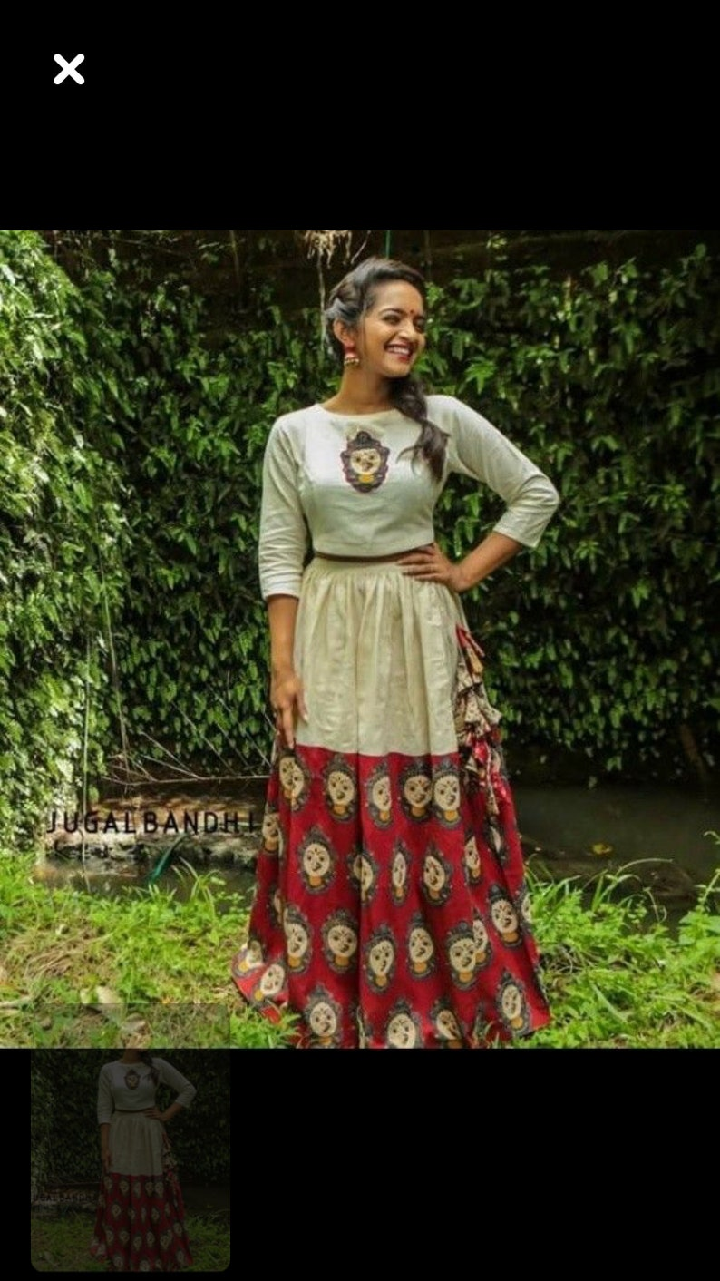 4202e679fec16 Indian designer Kalamkari anarkali gown dress crop top skirt