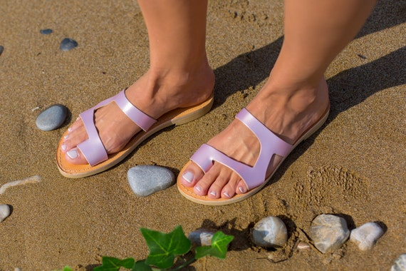 Leather sandals, Ancient Greek sandals, Handmade sandals, Women's sandals, Pink sandals, Elegant sandals, Ancient Greece, Kionas, ARIES