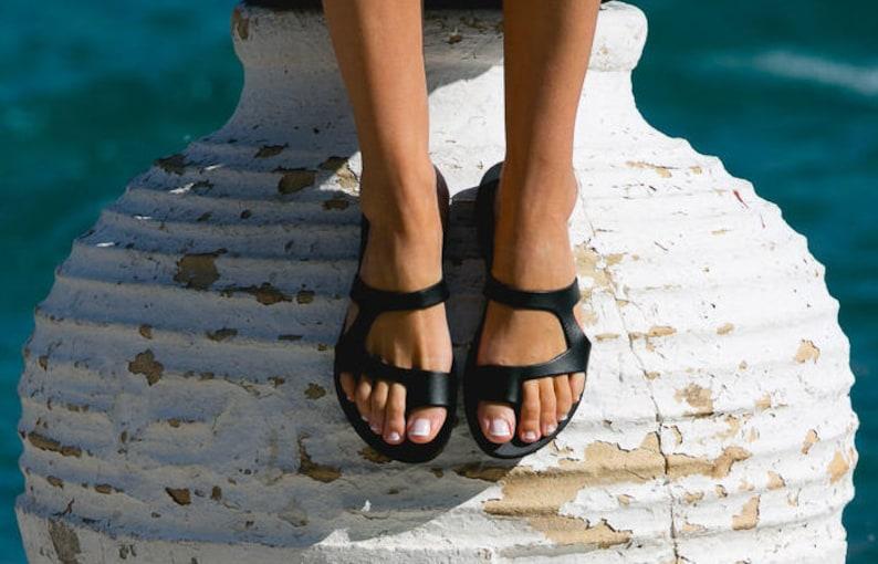 Black leather greek  sandals minimalist sandals leather image 0