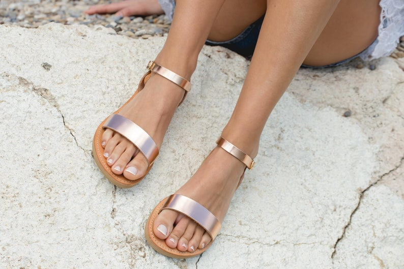 a02122a15f80 Leather sandals women Metallic Ankle strap sandals Rose