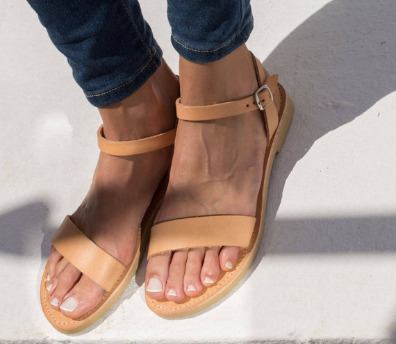 Women Leather Sandals Ancient Greece Natural Color Flat Summer Beach Shoes Handmade to order APHRODITE