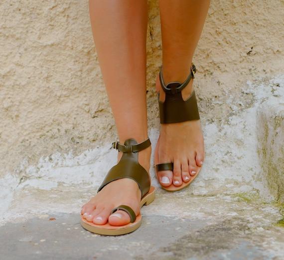 Toe ShoesKhaki Ring Handmade SandalsWomen KionasGeorgia