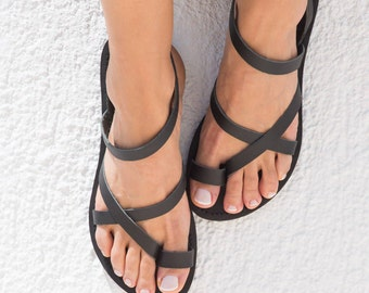 leather sandals women, leather sandals in total black, Greek sandals, summer sandals, leather sandals, Womens Sandals, Handmade Sandal,KLEIO