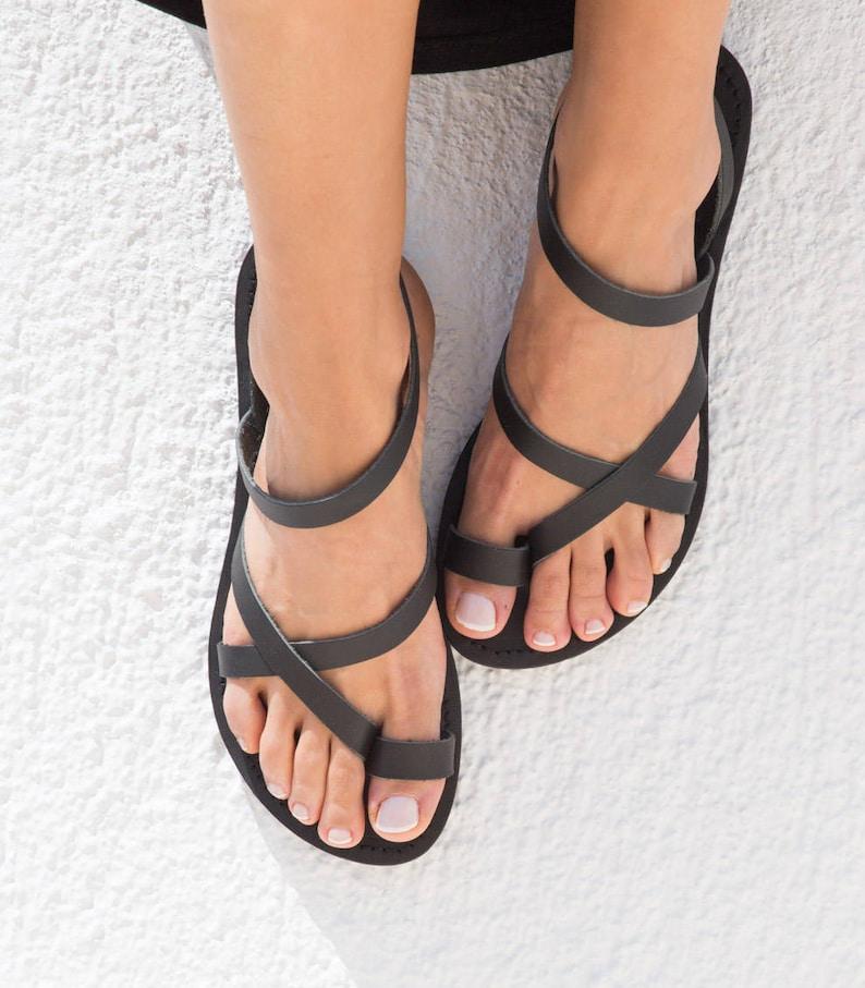 leather sandals women leather sandals in total black Greek Black
