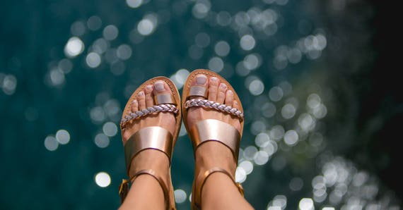 Leather Sandals women, Ancient Greek sandals, Womens leather shoes, Summer, Rose gold sandals, Shoes, Metallic, Kionas Sandals, HERA