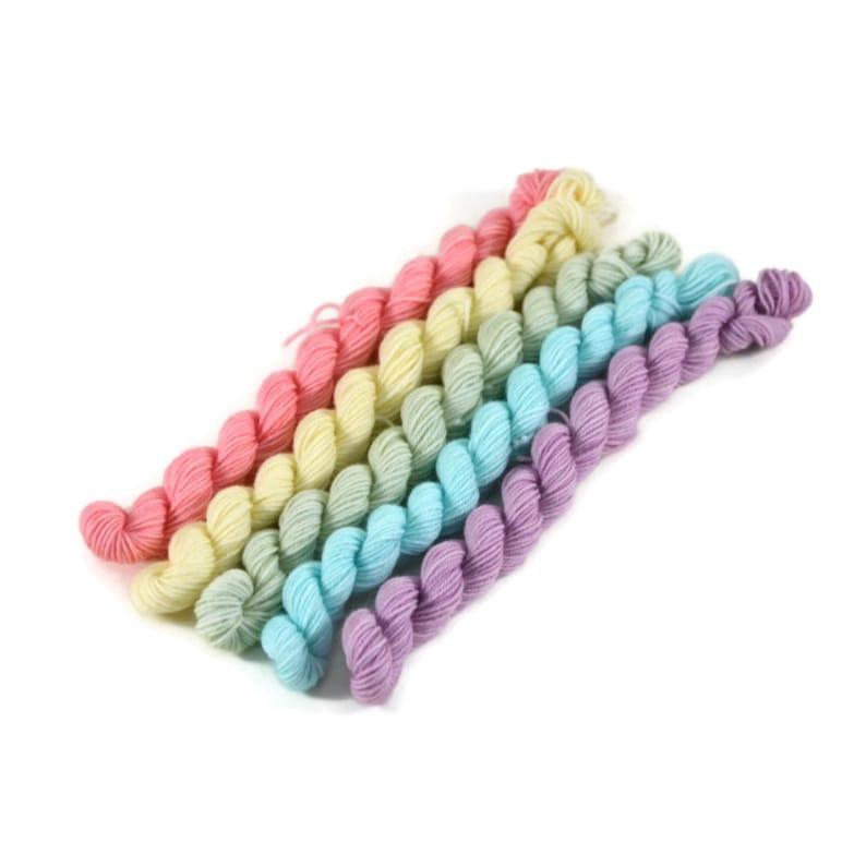 April 10g Micro Skein Set Sock Yarn Micro Skein Set Mini Skeins Superwash MerinoNylon Pastel Sock Yarn Fingering 230yd 50g total