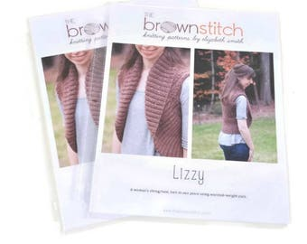 CLEARANCE Printed Lizzy Sweater Shrug Knitting Pattern, The Brown Stitch, sweater knitting pattern, shrug knitting pattern, sweater vest
