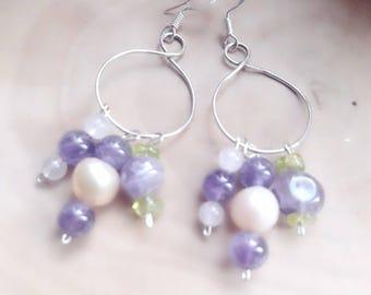 Amethyst, rose Quartz, Peridot and 925 Silver & fresh water Pearl, hoop earrings silver stones