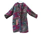 Reversible Kantha Jacket, Hand Quilted Jacket, Quilted Jacket, Boho Wear, Old Jacket, Long Coat, Handmade Wardrobe, Kantha Ladies Coat GJ46