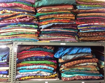 Fat Quarter Bundle of Silk Fabric 100% Silk Scrap Bag Pure Silk Fabric  Ethnic Fabric Remnants Sewing By Weight b972de368539