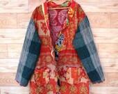 Women 39 s Kantha Jacket,Unique Reversible, Boho Wear, Kantha Coat, Handmade, Vintage Coat, Hand Quilted Jacket, Festival Fashion,Medium GJ203