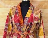 Multi Color Reversible Cotton Kantha Jacket,Kantha Kimono ,Cotton Kimono,Night Kimono Dress,Handmade Kimono Dress GJ128