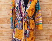 Women 39 s Kantha Jacket,Unique Reversible, Boho Wear, Kantha Coat, Handmade, Vintage Coat, Hand Quilted Jacket, Festival Fashion,Medium GJ121