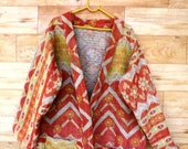 Vintage Kantha Jacket Ethnic Coat Gypsy Tribal LONG Jacket Kimono Retro Piece Unique Robe Vintage Cotton Reversible Kantha Stitch GJ206