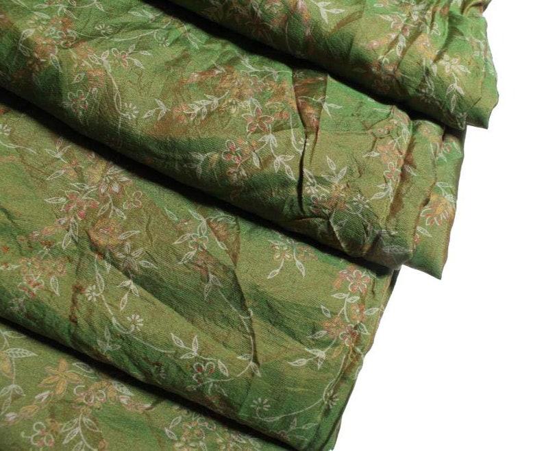 Free Shipping Beautiful Vintage Pure Silk Sari Dressmaking Used Fabric Craft Sari 5 Yard Floral Multi Color Soft Woven Wrap Decor #PS 3270