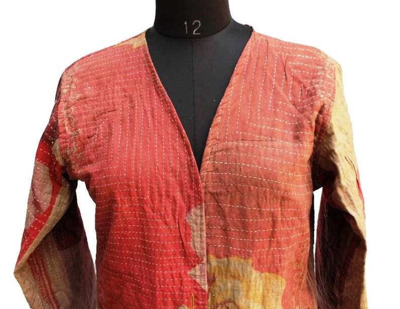 d55a6eadf Brown and Red Kimono Kimono vintage Retro style kantha Kimono Reversible  Brown Jacket Antique Kantha Dark Fabric