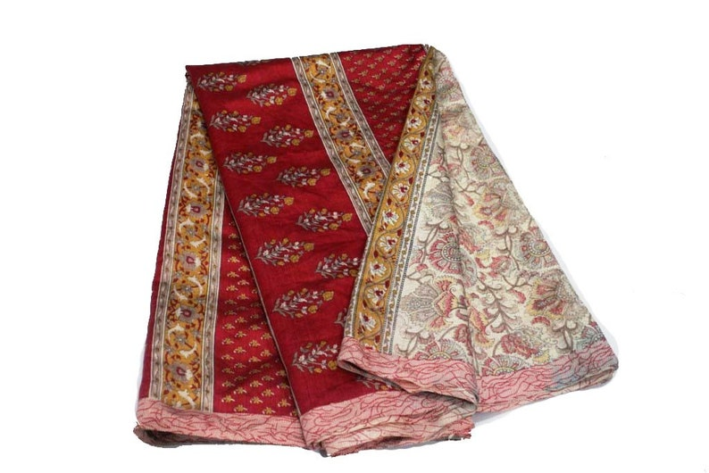 Indian Vintage Indian Traditional Sari Clothing Art Deco Recycled Sari Art Silk Printed Fabric Women Wrap Floral Sari 5 Yard Fabric #506