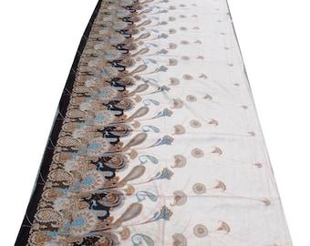 Vintage Indian Pure Silk Saree Printed Sari Ethnic Traditional Textile Long Curtains Craft Decor Sarong Fabric Recycle Used Wrap