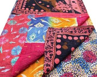 Free Shipping - Reversible Cotton Kantha Quilt Handmade Indian Kantha Quilt Old Kantha Throw Vintage Blanket
