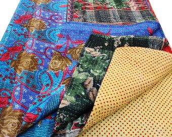 BOHO TWIN KANTHA quilt bedspread bed cover / bohemian bedding rustic home decor / gypsy throw picnic rug / coverlet home decor kantha