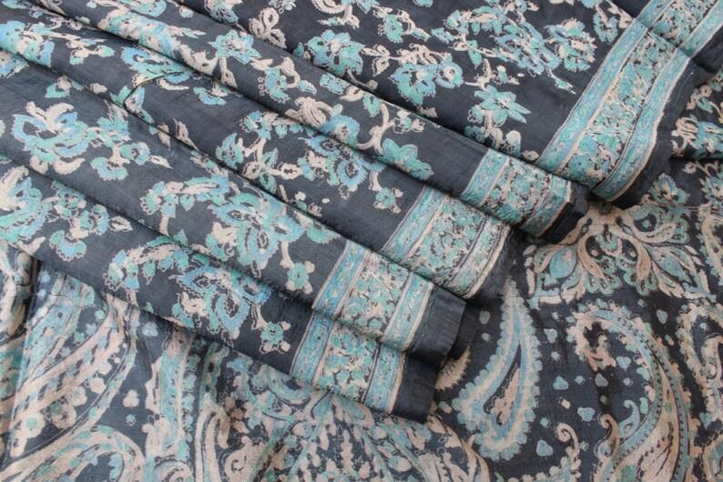 KK Vintage Indian Saree Art Silk Woven Craft Fabric Premium Cultural Sari 5 Yard