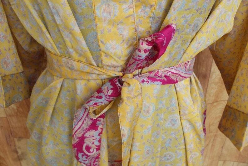 SALE!-15/%!!!Beach Robe Kimono Robe Swim Wear Robe Night Wear Art Silk Robe Silk Kimono Robe Gown Indian Saree Kimono #K488