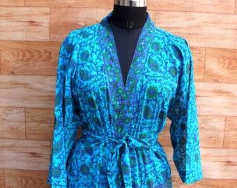 SALE!-15%!!!Beach Robe/ Kimono Robe/ Swim Wear Robe/ Night Wear/ Art Silk Robe/ Silk Kimono Robe/ Gown/ Indian Saree Kimono #K384