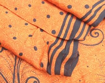 Vintage Silk Saree Indian Pure Silk Saree Printed Sari Home Decor Sari Craft Fabric Dressmaking Crafting Silk Sari 5 Yard Fabric # PS 3534