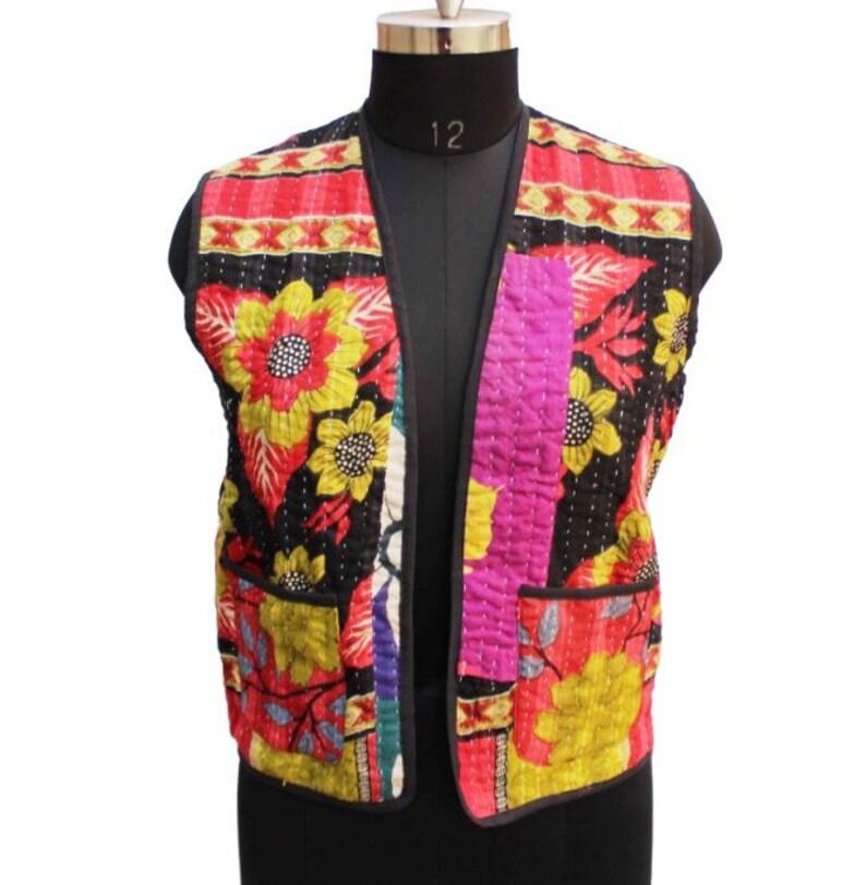 1bfa7cba5 Kantha Short Jacket Jeans Jacket Bohemian Vest Cotton Vest Reversible  Jacket Sleeveless Jacket Hippie Vest