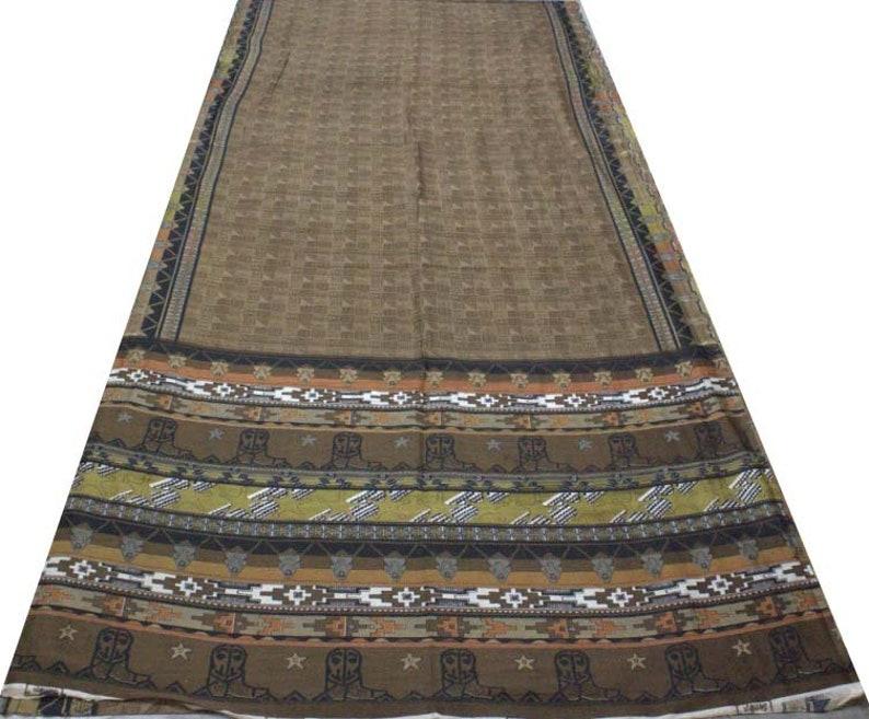 Vintage Indian Traditional Sari Clothing Art Deco Recycled Saree Art Silk Printed Fabric Women Wrap Floral Sari 5 Yrd Fabric FREE SHIPPING
