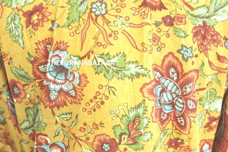 Summer Maxi Dress 044 Indian Floral Print Caftan Women Wear Cotton Kaftan India Dress Sleepwear Beach Cover Ups Comfortable Clothing