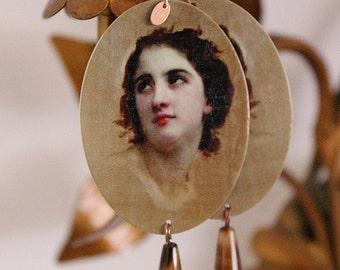 wooden earrings silver gold