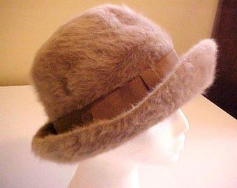 c5287a45026 Taupe Kangol Angora Fur Wool Hat bucket England winter brown tan ribbon  vintage