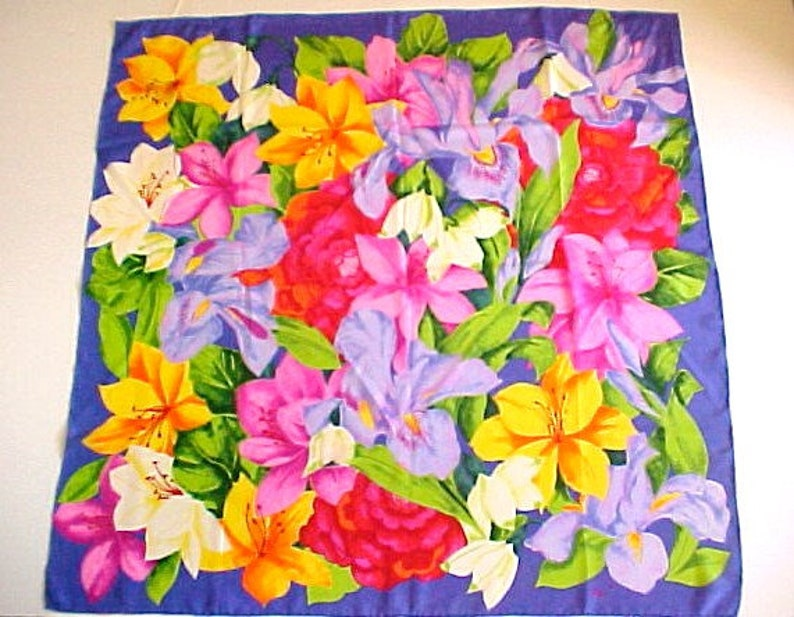 d806e02257b Big Vera Purple Iris Silk Scarf square floral vintage lavender