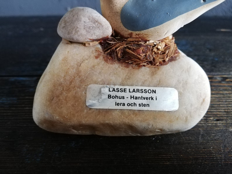 Natural Stone end Ceramic seagull Decor Swedish Handmade