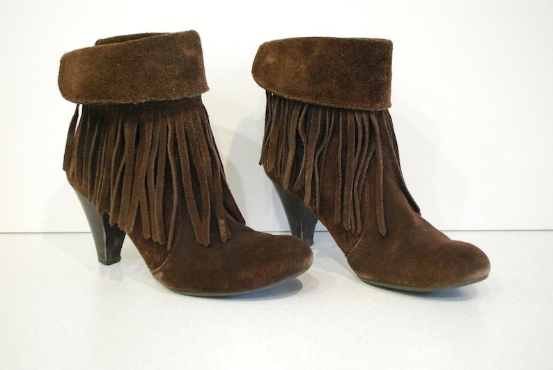 0ed1c1acadf465 Fransen Stiefel für Damen braun Leder Gr. 36 Eur 6 4 uk.