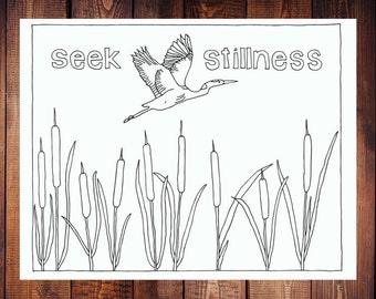 Seek Stillness Coloring Page