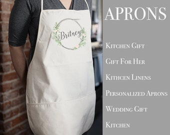 Personalized Kitchen Apron | Kitchen Apron | Custom Apron | Full Kitchen Apron | Custom Monogram Apron | Cotton Canvas Full Apron | Aprons