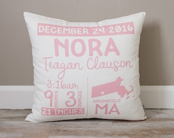Birth Announcement Pillow | Personalized Baby Pillow | Gift for New Mom | Baby Stats Pillow | Rustic Decor | Nursery Decor | Baby Girl Gift