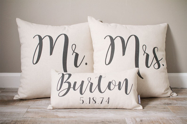 Mr and Mrs Pillow Sets  3 Wedding Pillows Set Custom image 0