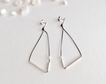Silver Earrings / Silver Long Earrings /Geometric Silver /Geometric Silver Earrings for design /Minimal Earrings /Geometric earrings