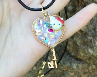 Gold Sanrio Hello Kitty Heart Necklace - Resin Necklace - Open Bezel Necklace - Kawaii Fashion