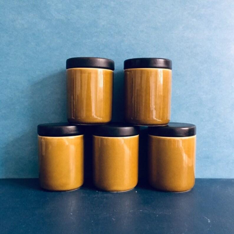 1960/'s Melitta Kopenhagen by Liselotte Kantner Absolutely Rare German Pottery. Set of Ceramic Jars