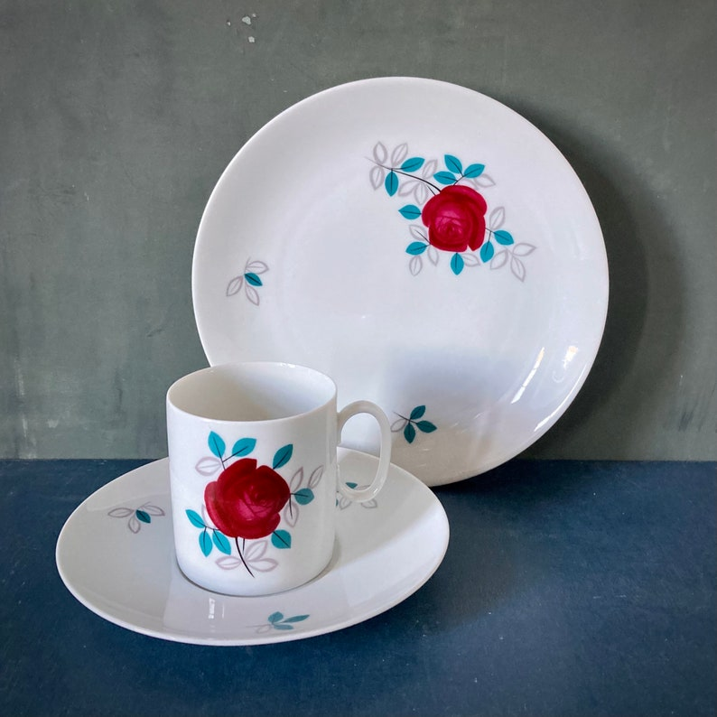 Set of Porcelain Cup Saucer And Plate 1960s Blossom Rose Thomas  Germany Form Medaillon by Hans Theo Baumann