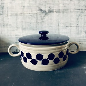 Beautiful Vintage Ceramic Casserole With Lid by Melitta  Germany Form Helsinki Blue Dots and Grey 1970\u2018s