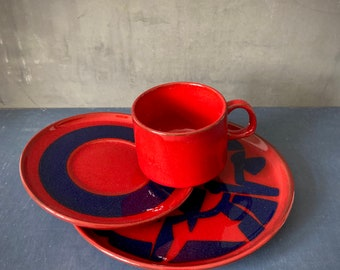 Melitta Kopenhagen, Red And Blue, Ceracron Ceramic Set of Cup Saucer Plate, Graphic Pattern, Germany, 1970s