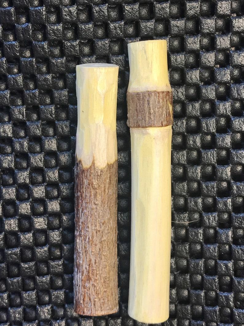 Hand carved wood spirit pipe tamper natural tree bark