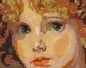Vintage Needlepoint Portrait Textile Portrait Fiber Arts