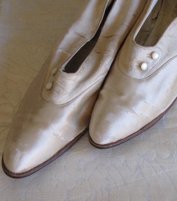 Antique Silk Wedding Shoes/ Edwardian Silk Shoes/