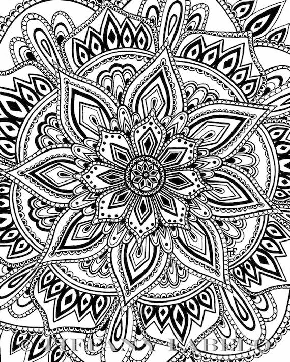 Dessin De Mandala Noir Et Blanc Mandala Imprimer Art Mural Impression De La Méditation Dessiné à La Main Zentangle Mandala 5 X 7 8 X 10 11 X